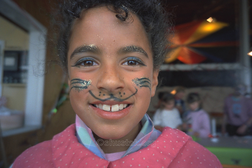 Young girl with face-painted, Christchurch.