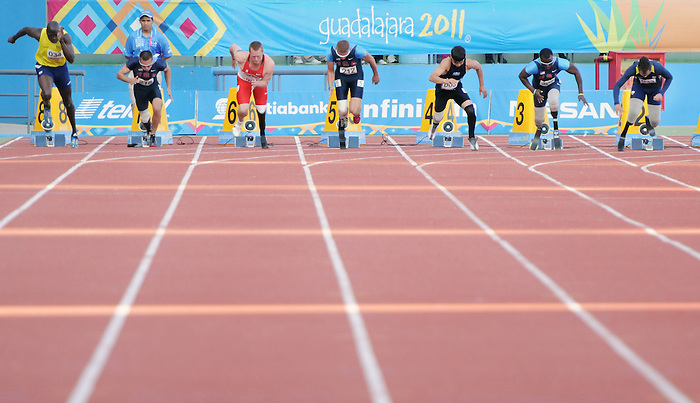 November 14 2011 - Guadalajara, Mexico: Alister McQueen starts with the rest of the field in the 100m Final at the 2011 Parapan American Games in Guadalajara, Mexico.  Photos: Matthew Murnaghan/Canadian Paralympic Committee