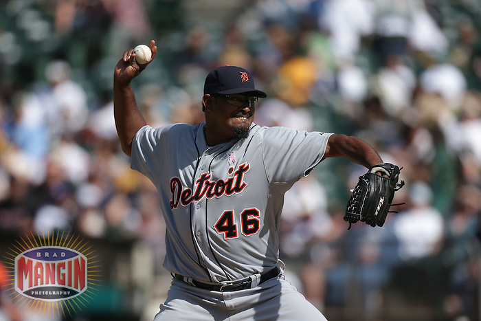 OAKLAND, CA - MAY 13:  Jose Valverde #46 of the Detroit Tigers pitches during the game against the Oakland Athletics on Sunday, May 13, 2012 at the O.co Coliseum in Oakland, California. Photo by Brad Mangin