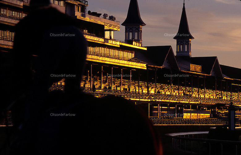 Riders warm up Derby prospects in the early morning workout at Churchill Downs.