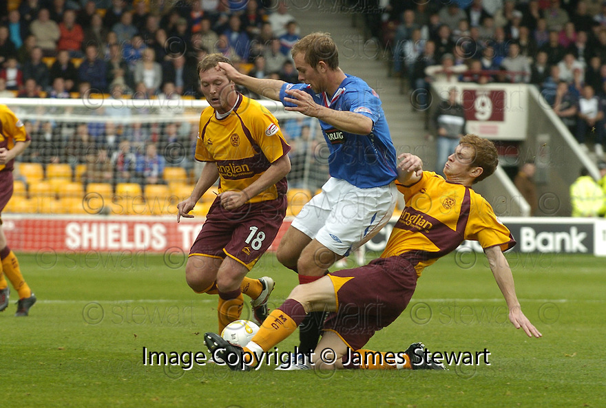 29/09/2007       Copyright Pic: James Stewart.File Name : sct_jspa08_motherwell_v_rangers.Rangers' Steven Whittaker is challenged by Mark Reynolds....James Stewart Photo Agency 19 Carronlea Drive, Falkirk. FK2 8DN      Vat Reg No. 607 6932 25.Office     : +44 (0)1324 570906     .Mobile   : +44 (0)7721 416997.Fax         : +44 (0)1324 570906.E-mail  :  jim@jspa.co.uk.If you require further information then contact Jim Stewart on any of the numbers above........