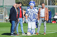 20190324 - OOSTAKKER , BELGIUM : Ben Bundervoet (mascotte)  pictured during the quarter final of Belgian cup 2019 , a womensoccer game between KAA Gent Ladies and RSC Anderlecht , at the PGB stadion in Oostakker , sunday 24 th March 2019 . PHOTO SPORTPIX.BE | STIJN AUDOOREN