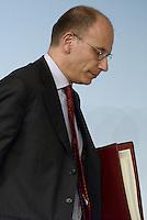 Roma, 17 Dicembre 2013<br /> Palazzo Chigi<br /> Conferenza stampa al termine del Consiglio dei Ministri.<br /> Approvato decreto legge su carceri e Giustizia.<br /> Nella foto  Enrico Letta.