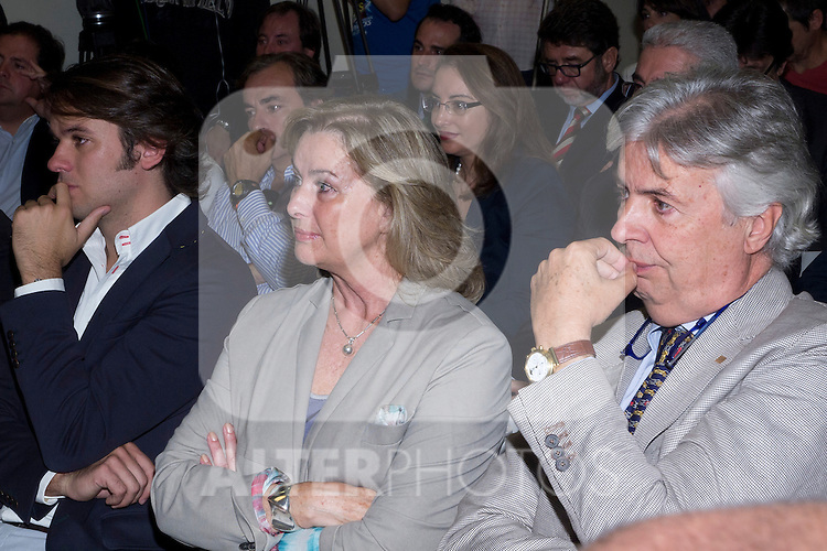 11.10.2012. The racecar driver, Maria de Villota Comba,  gives a press conference after acccidente in CSD (Sports Council) in Madrid, Spain, accompanied by his family, friends and colleagues. In the image (L-R) Emilio de Villota Jr., Isabel Comba and Emilio de Villota (Alterphotos/Marta Gonzalez)