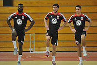 D.C. United from left to right defender Brandon McDonald, midfielder Chris Pontius and midfielder Lewis Neal during the pre-season fitness training session at George Manson University before departing for Bradenton Florida to get ready for the 2013 season, Friday January 18, 2013.