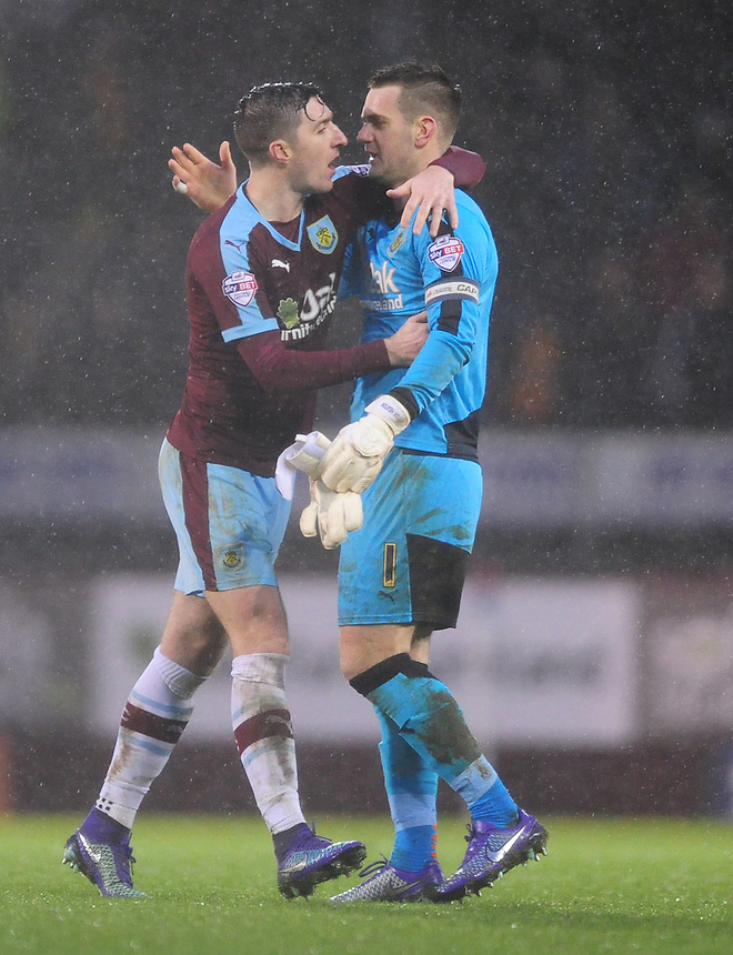 Burnley's Stephen Ward, left, and Burnley's Thomas Heaton celebrate the win at the end of the game<br /> <br /> Photographer Chris Vaughan/CameraSport<br /> <br /> Football - The Football League Sky Bet Championship - Burnley v Hull City - Saturday 6th February 2016 - Turf Moor - Burnley <br /> <br /> &copy; CameraSport - 43 Linden Ave. Countesthorpe. Leicester. England. LE8 5PG - Tel: +44 (0) 116 277 4147 - admin@camerasport.com - www.camerasport.com