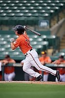 Baltimore Orioles center fielder TJ Nichting (71) follows through on a swing during a Florida Instructional League game against the Pittsburgh Pirates on September 22, 2018 at Ed Smith Stadium in Sarasota, Florida.  (Mike Janes/Four Seam Images)