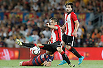 FC Barcelona's Luis Suarez (l) and Athletic de Bilbao's Carlos Gurpegui (c) and Benat Etxebarria during Supercup of Spain 2nd match.August 17,2015. (ALTERPHOTOS/Acero)