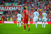Gareth Bale  of Wales  within head down  after his goal is disallowed during their UEFA EURO 2016 Group B qualifying round match held at Cardiff City Stadium, Cardiff, Wales, 06 September 2015. EPA/DIMITRIS LEGAKIS