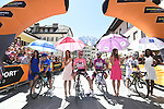 The jersey leaders lined up before the start of Stage 19 of the 100th edition of the Giro d'Italia 2017, running 191km from San Candido/Innichen to Piancavallo, Italy. 26th May 2017.<br /> Picture: LaPresse/Fabio Ferrari | Cyclefile<br /> <br /> <br /> All photos usage must carry mandatory copyright credit (&copy; Cyclefile | LaPresse/Fabio Ferrari)