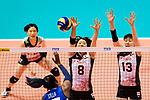 Mami Uchiseto (L) and Mai Okumura of Japan (R) blocks during the FIVB Volleyball Nations League Hong Kong match between Japan and Italy on May 29, 2018 in Hong Kong, Hong Kong. Photo by Marcio Rodrigo Machado / Power Sport Images