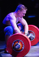 10 MAY 2014 - COVENTRY, GBR - Adam Mattiussi rues a failed lift during the men's 77kg A category round at the British 2014 Senior Weightlifting Championships and final 2014 Commonwealth Games qualifying event round at the Ricoh Arena in Coventry, Great Britain. Mattiussi's combined total for the event of 286kg makes him eligible for selection for the England team for the Commonwealth Games in Glasgow (PHOTO COPYRIGHT © 2014 NIGEL FARROW, ALL RIGHTS RESERVED)