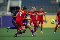 Orlando, FL - Sunday June 26, 2016: Dani Weatherholt, Allie Long, Emily Menges  during a regular season National Women's Soccer League (NWSL) match between the Orlando Pride and the Portland Thorns FC at Camping World Stadium.