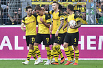 06.10.2018, Signal Iduna Park, Dortmund, GER, DFL, BL, Borussia Dortmund vs FC Augsburg, DFL regulations prohibit any use of photographs as image sequences and/or quasi-video<br /> <br /> im Bild die Mannschaft von Dortmund jubelt nach dem Tor zum 3:2 Torschuetze Mario G&ouml;tze / Goetze (#10, Borussia Dortmund) <br /> <br /> Foto &copy; nph/Horst Mauelshagen