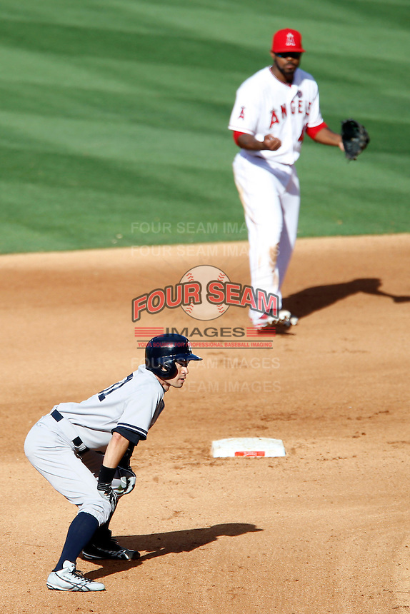 Ichiro Suzuki #31 of the New York Yankees leads off of second base during a game against the Los Angeles Angels at Angel Stadium on June 15, 2013 in Anaheim, California. (Larry Goren/Four Seam Images)
