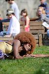 ALTHOUGH I LIVE INSIDE... MY HAIR WILL ALWAYS REACH TOWARDS THE SUN.......Un solo de Robyn Orlin..Avec Sophiatou Kossoko..Cadre : Festival Plastique Danse Flore..Lieu : Potager du roi..Ville : Versailles..Le 14/04/2013..© Laurent Paillier / photosdedanse.com