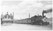 D&amp;RGW C-18 #318 with a freight at Ridgway depot.<br /> RGS  Ridgway, CO  Taken by Kindig, Richard H. - 6/8/1951