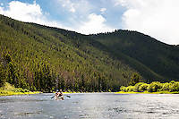 Paddlers canoe the Big Hole River near Wisdom, Montana.