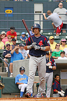 Catcher Luis Exposito of the Salem Red Sox hitting against  the Myrtle Beach Pelicans on May 3, 2009