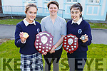 Students Gemma Kearney (Senior Sports Person of the Year) and Jane Lawlor (Junior Sports Person of the Year) received their awards from Ciara Griffin (Irish Ladies Rugby Captain) at the Presentation Secondary School Castleisland's Students Awards evening on Monday.