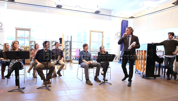 Kelli O'Hara, Steven Pasquale, Derek Klena, Caitlin Kinnunen, Bartlett Sher and Jason Robert Brown perform at the 'The Bridges of Madison County' Media Day at the New 42nd Street Studios on December 16, 2013 in New York City.
