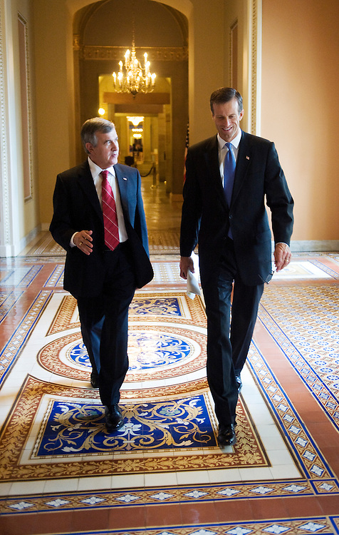 UNITED STATES - FEBRUARY 08:  Sens. John Thune, R-S.D., right, and Mike Johanns, R-Neb., make their way to the LBJ Room for the senate republican caucus luncheon held in the  in the Captiol.  (Photo By Tom Williams/Roll Call)
