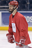 Jake Dowell - The University of Wisconsin Badgers skated Saturday morning, April 8, 2006, at the Bradley Center in Milwaukee, Wisconsin, before defeating Boston College that evening for the Title.