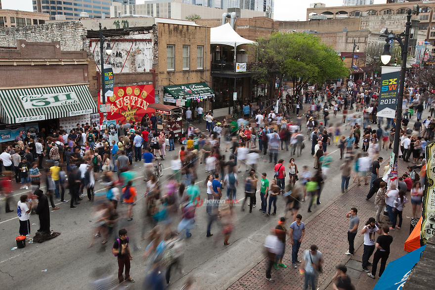 Walking jammed packed 6th Street at SXSW 2012