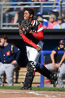 Batavia Muckdogs catcher Luis Alberto Sanz (19) throws down to second during a game against the State College Spikes on June 22, 2014 at Dwyer Stadium in Batavia, New York.  State College defeated Batavia 10-3.  (Mike Janes/Four Seam Images)