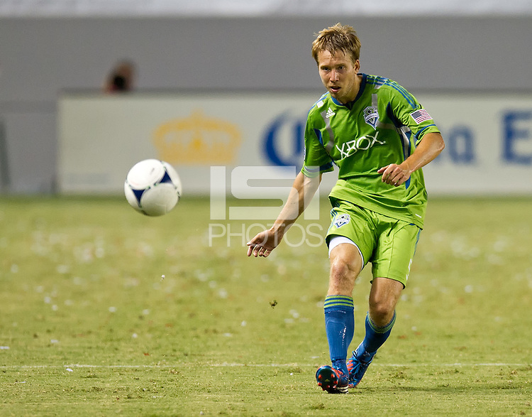 CARSON, CA - August 25, 2012: Seattle defender Adam Johansson (5) during the Chivas USA vs Seattle Sounders match at the Home Depot Center in Carson, California. Final score, Chivas USA 2, Seattle Sounders 6.