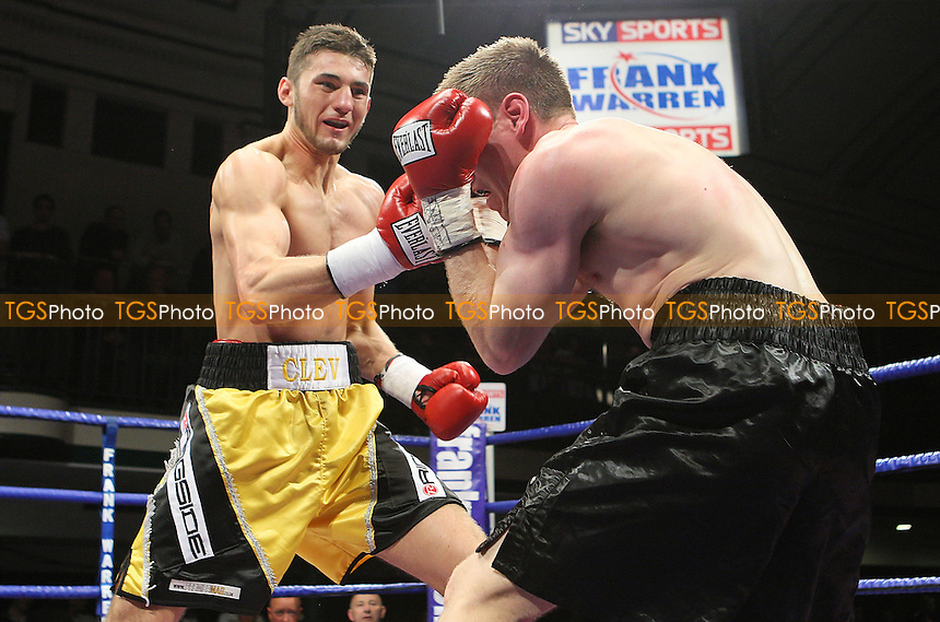 Nathan Cleverly (Cefn Fforest, Wales, yellow/black shorts) defeats Billy Boyle (Sheffield, black shorts) in a Light-Heavyweight boxing contest for the Commonwealth Title at York Hall, Bethnal Green, promoted by Frank Warren / Sports Network - 22/05/09 - MANDATORY CREDIT: Gavin Ellis/TGSPHOTO - Self billing applies where appropriate - 0845 094 6026 - contact@tgsphoto.co.uk - NO UNPAID USE.