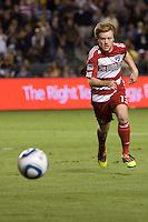 FC Dallas midfielder Dax McCarty chases after a loose ball. FC Dallas defeated the LA Galaxy 3-0 to win the Western Division 2010 MLS Championship at Home Depot Center stadium in Carson, California on Sunday November 14, 2010.