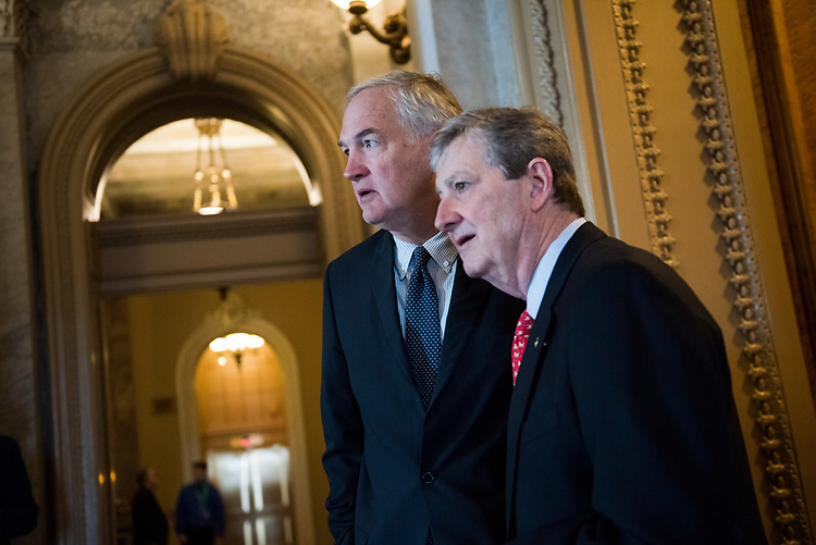 UNITED STATES - MARCH 15: Sens. John Kennedy, R-La., right, and Luther Strange, R-Ala., leave a vote in the Capitol, March 15, 2017. (Photo By Tom Williams/CQ Roll Call)