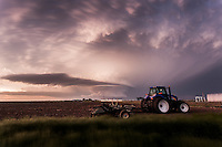 Mothership Supercell Thunderstorm above a Tractor in Leoti, KS, May 21, 2016