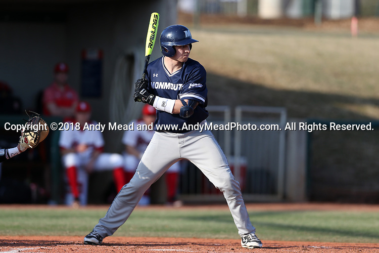 CARY, NC - FEBRUARY 23: Monmouth's JD Andreesen. The Monmouth University Hawks played the Saint John's University Red Storm on February 23, 2018 on Field 2 at the USA Baseball National Training Complex in Cary, NC in a Division I College Baseball game. St John's won the game 3-0.