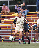 Boston College forward Victoria DiMartino (1) shields ball and passes. After two overtime periods, Boston College tied University of Central Florida, 2-2, at Newton Campus Field, September 9, 2012.
