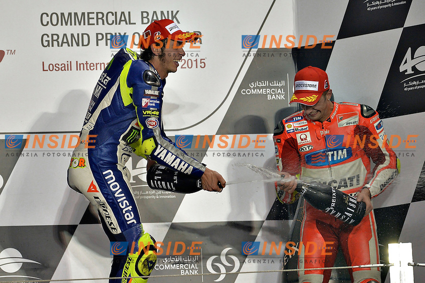 Lg Losail (Qatar) 29/03/2015 - gara Moto GP / foto Luca Gambuti/Image Sport/Insidefoto<br /> nella foto: Valentino Rossi Yamaha winner, Andrea Iannone Ducati third