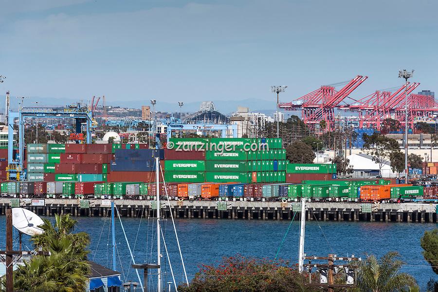 San Pedro CA; Terminal Island; Gantry Cranes; Shipping Containers; Thomas Vincent Bridge; Long Beach; Ca. Architectural; Southern California; USA
