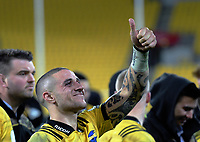 TJ Perenara gives the thumbs-up after the Super Rugby quarterfinal match between the Hurricanes and Chiefs at Westpac Stadium in Wellington, New Zealand on Friday, 20 July 2018. Photo: Dave Lintott / lintottphoto.co.nz