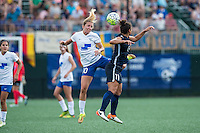 Allston, MA - Sunday July 17, 2016: Louise Schillgard, Raquel Rodriguez during a regular season National Women's Soccer League (NWSL) match between the Boston Breakers and Sky Blue FC at Jordan Field.