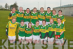 The Kerry ladies under fourteen football team who defeated Clare in in St. Senan's Listowel on Saturday were front l-r Aine Daly, Sabrina Sheehan, Johanna O'Callaghan, Geraldine Cahalane, Kate O'Sullivan, Ciara Murphy and Naomi Ni She?.   Back l-r Marie Quirke, Sinead Guinney, Megan Buckley, Niamh De? Hora, Sorchu McNulty, Michelle O'Connor Claire O'Sullivan and Barbara Browne....   Copyright Kerry's Eye 2008