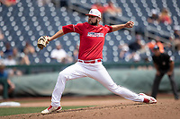 Louisville Cardinals pitcher Michael Kirian (33) delivers a pitch to the plate during Game 7 of the NCAA College World Series against the Auburn Tigers on June 18, 2019 at TD Ameritrade Park in Omaha, Nebraska. Louisville defeated Auburn 5-3. (Andrew Woolley/Four Seam Images)