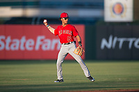 AZL Angels shortstop Jeremiah Jackson (8) during an Arizona League game against the AZL Padres 2 at Tempe Diablo Stadium on July 18, 2018 in Tempe, Arizona. The AZL Padres 2 defeated the AZL Angels 8-1. (Zachary Lucy/Four Seam Images)