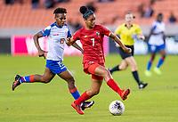 HOUSTON, TX - FEBRUARY 3: Maria Guevara #7 of Panama steps over the ball during a game between Panama and Haiti at BBVA Stadium on February 3, 2020 in Houston, Texas.