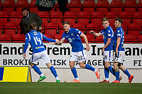 29th December 2019; McDairmid Park, Perth, Perth and Kinross, Scotland; Scottish Premiership Football, St Johnstone versus Ross County; Callum Hendry of St Johnstone is congratulated after scoring for 1-1 in the 84th minute by Stevie May - Editorial Use
