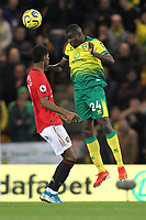 Ibrahim Amadou of Norwich City wins a header against Marcus Rashford of Manchester United during the Premier League match between Norwich City and Manchester United at Carrow Road on October 27th 2019 in Norwich, England. (Photo by Matt Bradshaw/phcimages.com)<br /> Foto PHC/Insidefoto <br /> ITALY ONLY