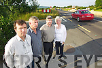 Stuart Stephens, Noel O'Connor, Michael Heffernan and Georgina Stephens residents of Milltown say there have been over Thirty Crashes on the road entering Milltown from the Castlemaine side in the last Two years.
