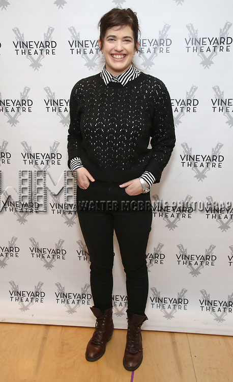 """Megan Hill attends the photo call for the Vineyard Theatre production of """"Do You Feel Anger?"""" at the Vineyard Theater Rehearsal studio Theatre on February 14, 2019 in New York City."""