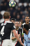 Leonardo Bonucci of Juventus focuses on the ball during the UEFA Champions League match at Juventus Stadium, Turin. Picture date: 26th November 2019. Picture credit should read: Jonathan Moscrop/Sportimage