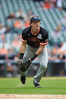 Blake Chisolm (27) of the Sam Houston State Bearkats makes a throw to first base against the Kentucky Wildcats during game four of the 2018 Shriners Hospitals for Children College Classic at Minute Maid Park on March 3, 2018 in Houston, Texas. The Wildcats defeated the Bearkats 7-2.  (Brian Westerholt/Four Seam Images)